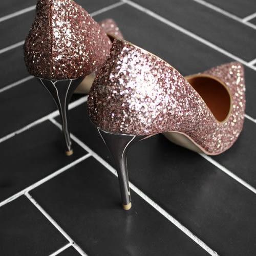 高跟鞋 雜誌雜誌款粉色香檳水亮尖頭高跟鞋 艾爾莎【TSB8693】