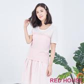 RED HOUSE-蕾赫斯-蕾絲點點拼色針織衫(粉色)