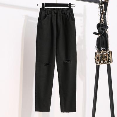 寬褲~M-5XL大碼長褲~女士破洞顯瘦牛仔寬松高腰褲子哈倫褲蘿卜褲MC077衣時尚