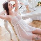 969情趣~ 大尺碼Annabery純白平口雙層交疊開襟二件式睡衣