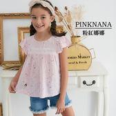 PINKNANA童裝-大童荷葉細條紋寬版上衣38168