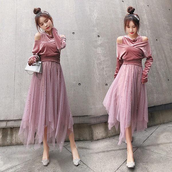VK旗艦店 韓系氣質絲絨露肩時尚名媛套裝長袖裙裝