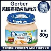 10/25到貨*WANG*【24罐賣場】Baby Food 嘉寶Gerber 純雞肉泥 80g/瓶 (波蘭廠)藍色瓶蓋