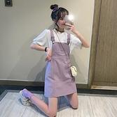 夏季新款時尚韓版高腰學生百搭洋氣減齡紫色網紅背帶短裙女潮