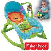 【奇買親子購物網】費雪牌 Fisher-Price 可愛動物可攜式兩用安撫躺椅+學習小提燈
