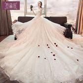 2018夏季新款一字肩拖尾婚紗禮服顯瘦韓式蕾絲結婚公主夢幻新娘女 春生雜貨