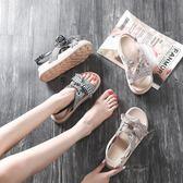鬆糕鞋2019夏季新款韓版百搭學生厚底鬆糕羅馬涼鞋仙女風chic平底涼鞋女 萊俐亞