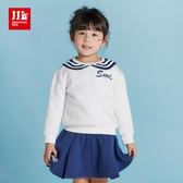 JJLKIDS 女童 甜心水手內刷毛長袖套裝(藏青)