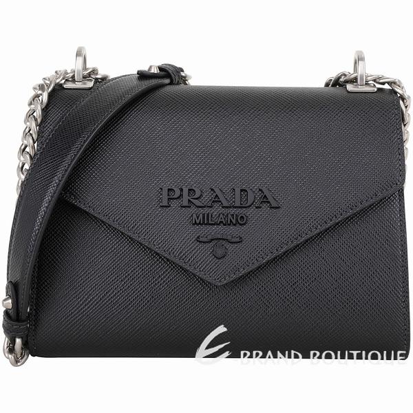 PRADA Monochrome Saffiano 字母徽標防刮牛皮肩背包(黑色) 1940430-01