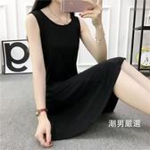 洋裝中長版背心裙收腰大尺碼寬鬆黑色吊帶打底無袖連身裙XL-5XL