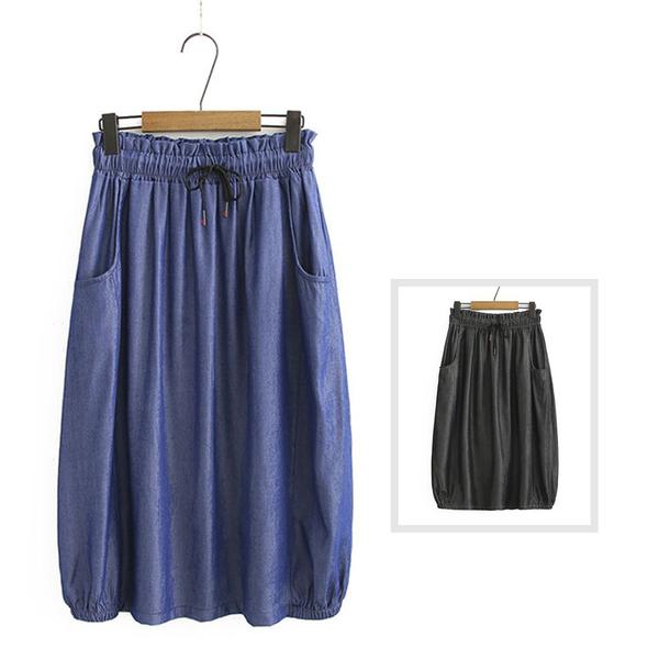 *ORead*韓版天絲棉復古花苞腰繫帶牛仔半身裙(2色XL~4XL)