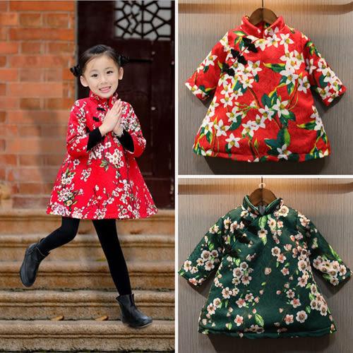 長袖洋裝 女童花朵加厚A字裙新年旗袍長袖洋裝 W67028