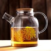 日式竹蓋耐熱玻璃花茶水壺-1600ML