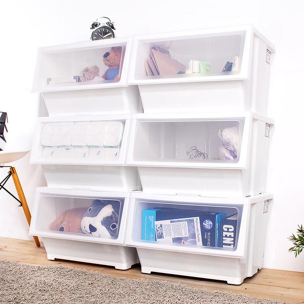 E&J【005128】HOUSE大容量-艾夏掀蓋式可堆疊玩具衣物收納箱-39L(合色:藍3入+粉3入、白色6入)兩款可選