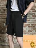 男短褲直筒寬松西裝褲男夏季短褲男大碼五分褲西褲【小狮子】