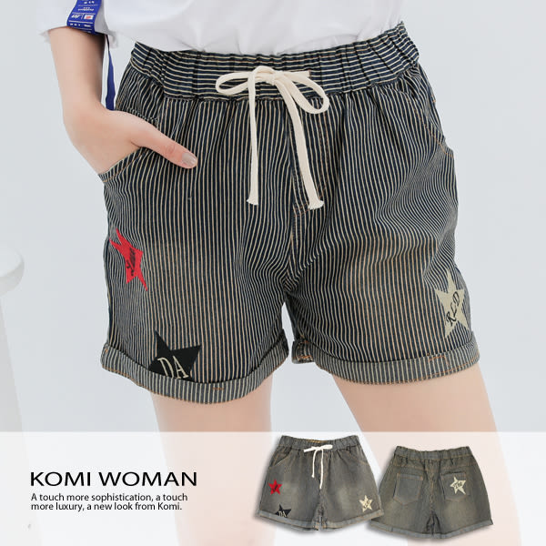 【KOMI】 條紋星星丹寧鬆緊綁帶反折短褲 (1735-822025)