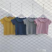 夏季裝韓版女童翻領短袖t恤寶寶純色純棉體恤中小童圓領上衣T 道禾生活館