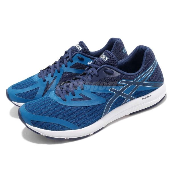 【六折特賣】Asics 慢跑鞋 Amplica 藍 深藍 輕量透氣 基本款 男鞋 運動鞋【PUMP306】 T825N400