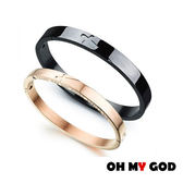 OH MY GOD感謝有你十字架情侶鈦鋼手環