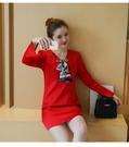 喜慶宴會高雅V领絲巾領結綢緞A字喇叭長袖連衣裙 (紅 黑)二色售 11852045
