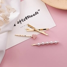 【NiNi Me】韓系髮飾 氣質甜美愛心蝴蝶結珍珠三件組髮夾 髮夾 H9465