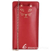 Charlotte Olympia Feline i Phone6 貓咪鍊帶手機套(紅色) 1530091-54