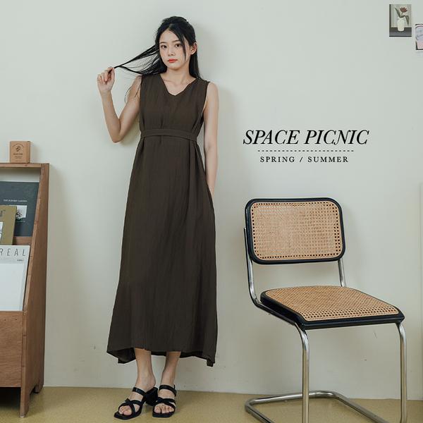 洋裝 Space Picnic|V領無袖洋裝-附綁帶-3色(現貨)【C21073049】