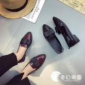牛津鞋-英倫風漆皮小皮鞋女春2018舒適平底尖頭單鞋黑色蝴蝶結低跟工作鞋-奇幻樂園