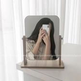 化妝鏡 絲絲小物 ins簡約木質鏡子可調節角度桌面化妝鏡台式學生宿舍鏡子   koko時裝店