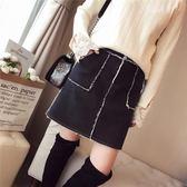 冬季新款韓版顯瘦A字短裙高腰口袋羊羔毛拼接牛仔半身裙女裝