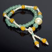 【喨喨飾品】東菱/黃玉 vs 仿珍珠二圈式手鍊 A545