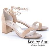 ★2019秋冬★Keeley Ann簡約一字帶 氣質水鑽中跟真皮涼鞋(杏色) -Ann系列