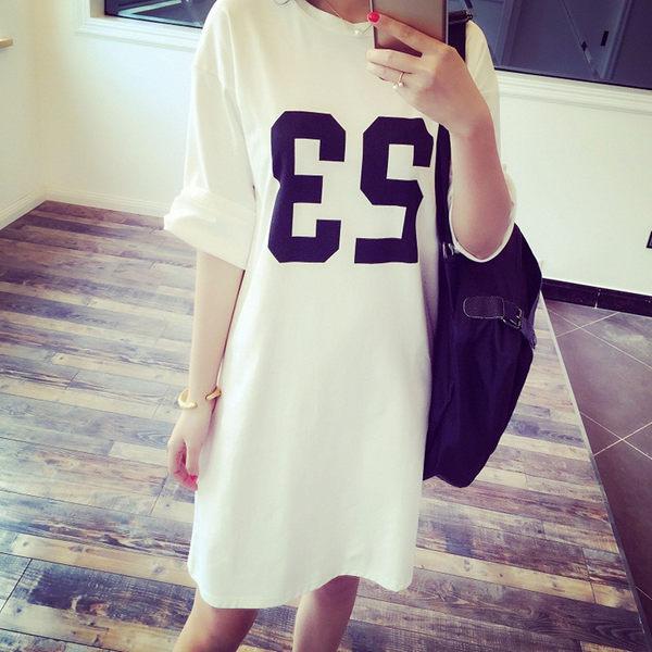 【TU08】短袖長版上衣 簡約23數字印花薄t 中大尺碼休閒上衣 短袖T恤