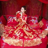 秀禾服新娘2018新款敬酒服中式古裝婚紗禮服結婚嫁衣秀和服龍鳳褂 【PINKQ】