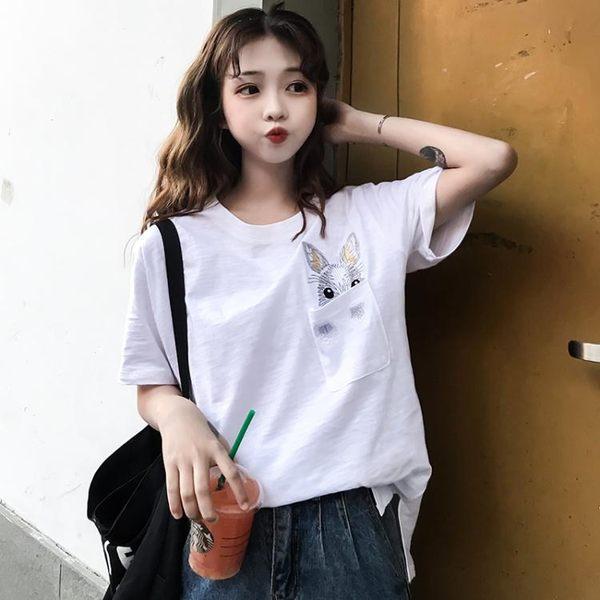 短袖t恤女2019夏季新款韓范大碼女裝胖mm半袖寬鬆白色百搭上衣潮 台北日光