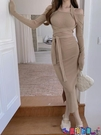 一字領連身裙 掛脖一字肩連身裙女設計感2021春裝新款氣質修身顯瘦長袖打底裙子寶貝計畫 上新