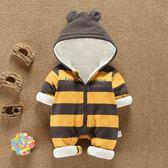 周歲服  秋冬裝男寶寶冬裝套裝0一1周歲嬰兒衣服女連體衣加絨韓版潮服哈衣 珍妮寶貝