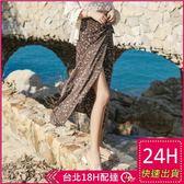 梨卡★現貨 - 甜美沙灘防曬圖騰印花雪紡一片式沙灘裙沙灘長裙BR218