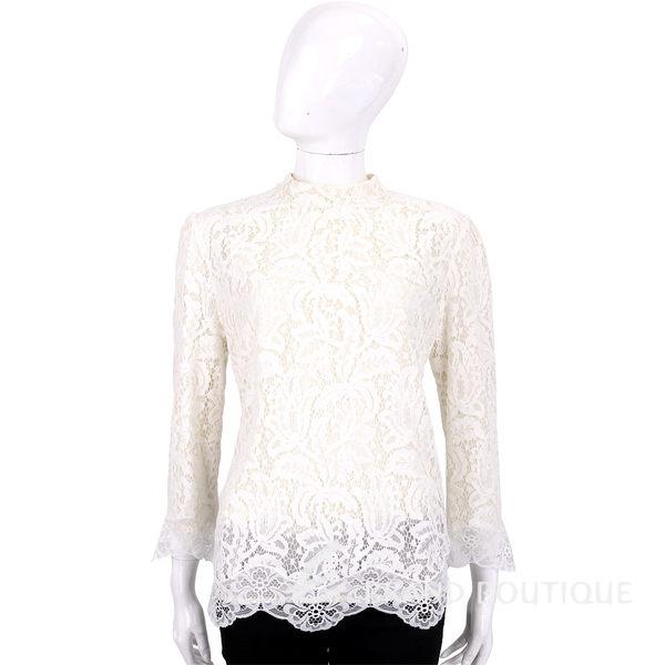 CLASS roberto cavalli 白色點點蕾絲拼接長袖上衣 1620491-03