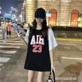 情侶裝新款韓版寬鬆球衣短袖T恤女夏假兩件上衣球服情侶裝 免運快出