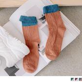 《ZB0562》撞色拼接色塊撞色中筒長襪 OrangeBear