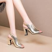 魚口鞋 涼鞋女春夏季新款鏤空高跟鞋女羅馬鞋魚口粗跟時尚羅馬女鞋-Ballet朵朵