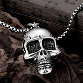 鈦鋼項鍊吊墜-個性骷髏頭生日聖誕節禮物男配件73cm115[時尚巴黎]