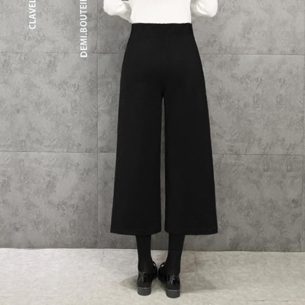 寬管褲女九分褲高腰西裝料寬鬆緊腰大碼七分闊腳褲毛呢子