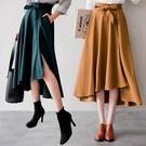 MIUSTAR 多色!氣質前側開衩前短後長綁帶麂皮絨寬傘裙(共4色)【NH3160LS】預購