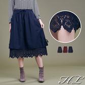 .GAG GLE超大尺碼.【19061004】鄰家女孩蕾絲擺伸縮腰大口袋長裙 3色