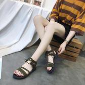 2018夏季新款女涼鞋chic交叉綁帶復古羅馬一字扣平底學生女鞋 QG1070『愛尚生活館』