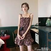 碎花洋裝 2021新款溫柔小個子穿搭輕熟泫雅風魚尾碎花吊帶雛菊洋裝子女夏