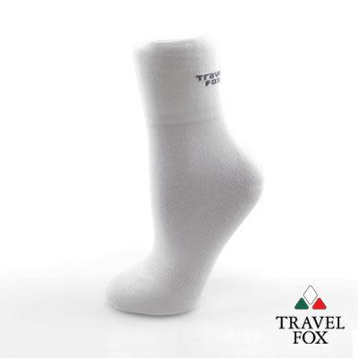 【Travel Fox】(男) LOGO細磨棉紳士休閒襪 - 白