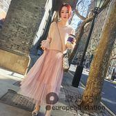 套裝/秋季時尚系帶針織毛衣配裙子兩件套中長款百褶紗裙女